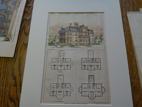 Adams Nervine Asylum, Jamaica Plain, MA 1879, Original Plan. Hand-colored. Cabot & Chandler.
