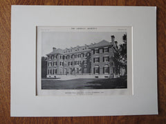 Bertram Hall, Radcliffe College, Cambridge, MA, 1911, Lithograph. A.W Longfellow