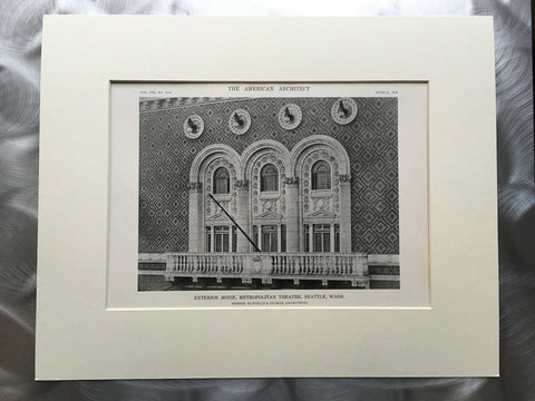 Metropolitan Theatre, Seattle, WA, 1916, Lithograph. Howells & Stokes.