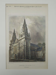 Aberdeen Cathedral, Aberdeen, Scotland, 1890, Original Plan.