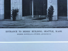 Henry Building, Seattle, WA, Howells & Stokes, 1916, Lithograph.