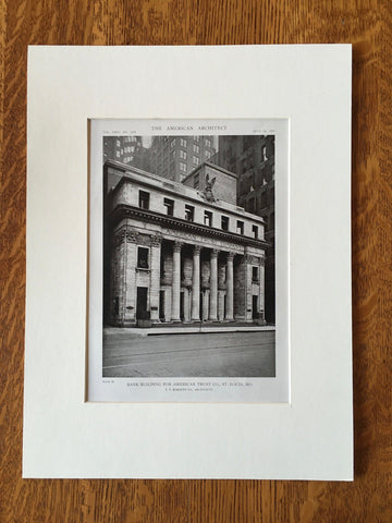 American Trust Bank Building, St. Louis, MO, 1919, Lithograph. T.P. Barnett Co.