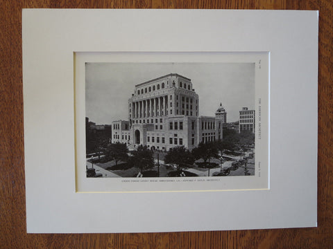 Caddo Parish Court House, Shreveport, LA, 1929, Lithograph. Edward F. Neild
