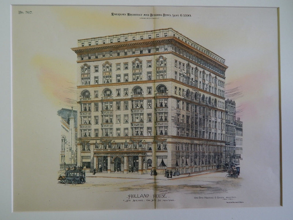 Holland House, 5th Ave & 30th St., New York, NY, 1890, Original Plan. Geo. Dew. Harding & Gooch.