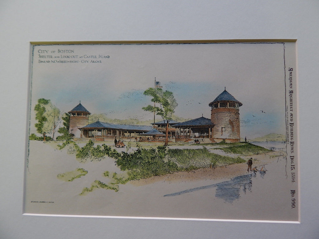 Shelter, Castle Island, Boston, MA 1894. Original Plan. Edmund Wheelwright.