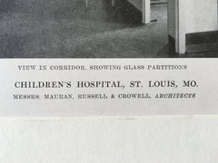 Children's Hospital, St. Louis, MO, 1916, Lithograph. Mauran, Russell