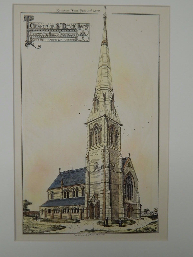 Church of St. Peter-Bury, Manchester, England, 1872, Original Plan. Hand-Colored. Maycock & Bell.