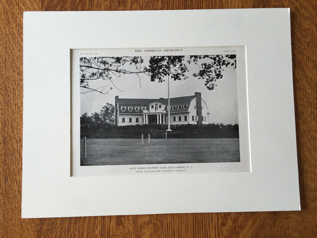 Glen Ridge Country Club, NJ, 1916, Lithograph.  Davis, McGrath & Kiessling