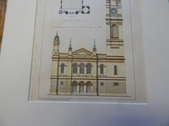 Free Middle Church, Greenock, Scotland, 1872. Original Plan. Hand-colored. Salmon & Ritchie.