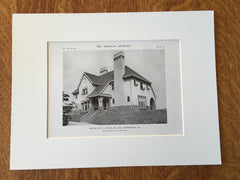 House of H.B. Chess, Jr., Esq., Pittsburgh, PA, 1916, Lithograph. Edward B. Lee