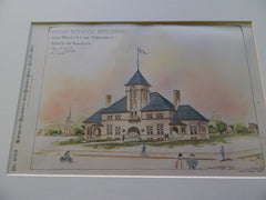 High School Building, Emporia, KS, 1895. Original Plan. Hand Colored. Harry Jones.