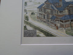 House for C. J. Carpender, New Brunswick, NJ 1879, Original Plan. Hand-colored.  Potter & Robertson.
