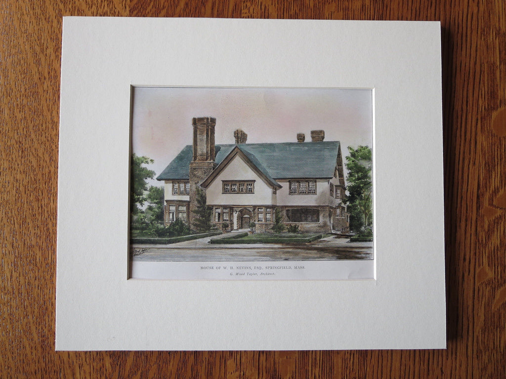 W.H. Nevins House, Springfield, MA 1905, Wood Taylor, Original Plan Hand Colored
