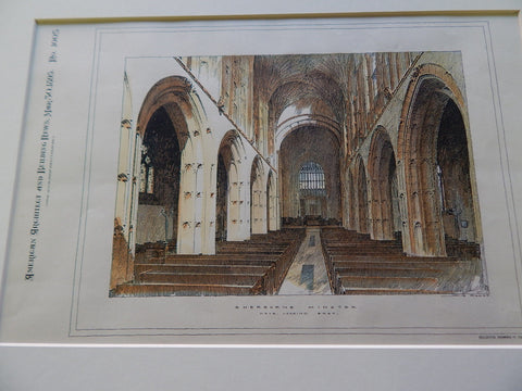 Sherborne Minster, Sherborne Abbey, Sherborne UK 1895. Original. Hand Colored.