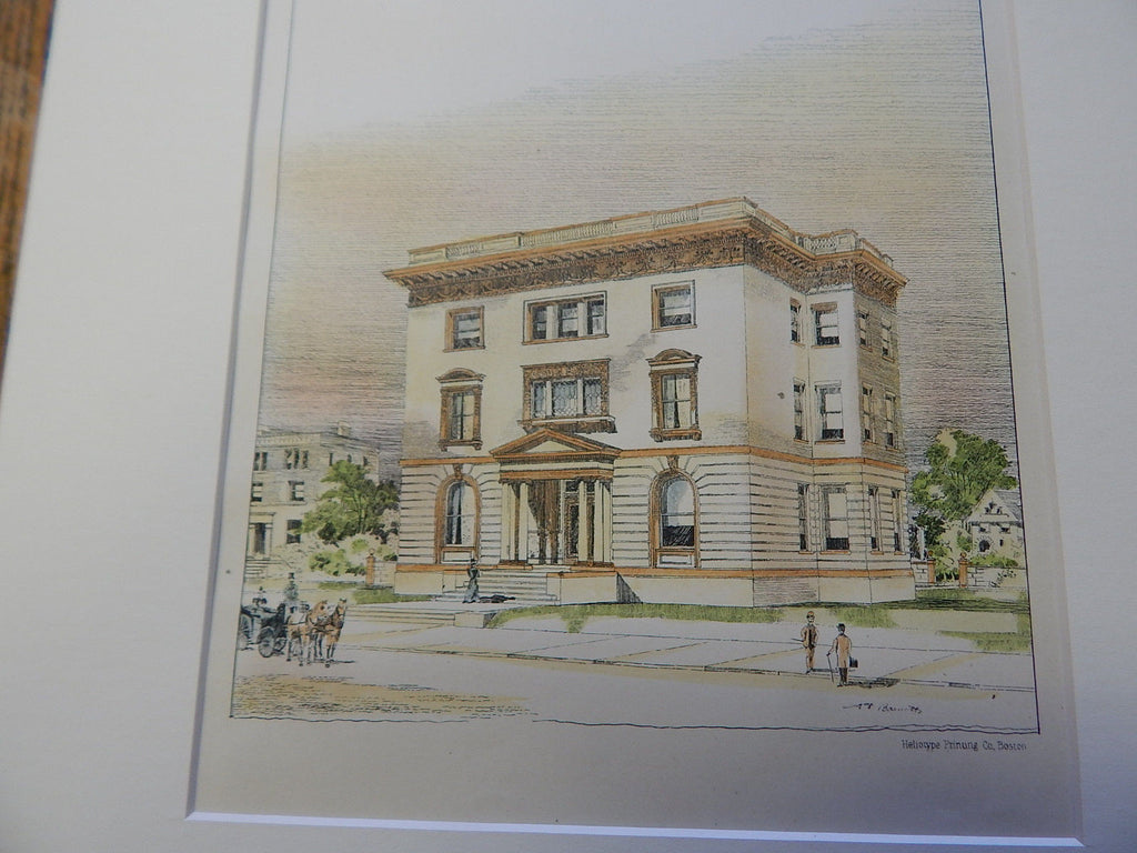 Residence of F. A. Drew, St. Louis, MO 1896. Original Plan. Hand-colored. Barnett & Haynes.