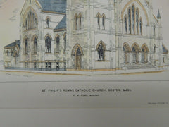 St. Philip's Catholic Church, Boston, MA, 1896, Original Plan. Hand-colored. P.W. Ford.
