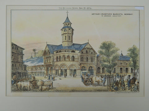 Arthur Crawford Markets, Bombay, India, 1874, Original Plan. W. Emerson.
