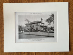James Burns House, Newton Center, MA, 1919, Lithograph.  Coolidge & Carlson