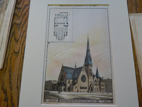 Boundary Avenue Presbyterian Church, Baltimore, MD 1879, Original Plan. Dixon & Carson.