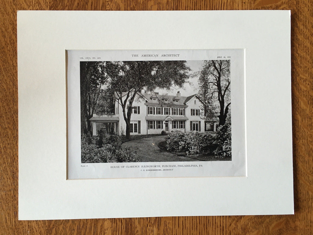 Clarence Illingworth House, Philadelphia, PA, 1919, Lithograph. C. Schermerhorn