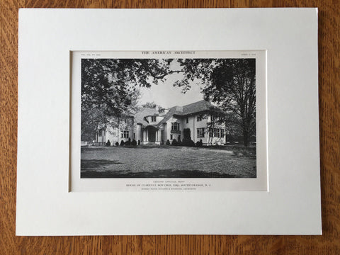 C. Bonynge House, South Orange, NJ, 1916, Lithograph. Davis/McGrath/Kiessling