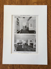 Hall & Living Room, House of E.L. Cutter, Esq., Milton, MA, 1916, Lithograph. Harry B. Little