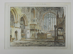 Interior, Fitz-Alan Sanctuary, Arundel, UK, 1874, Original Plan. Hand Colored.