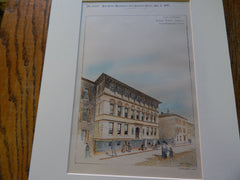 Primary School, Genesee St., Boston, MA 1895. Original Plan. Hand Colored. Edmund M. Wheelwright.