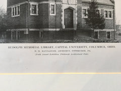 Rudolph Memorial Library, Capital Univ, Columbus, OH, 1916, Lithograph. H McCullough