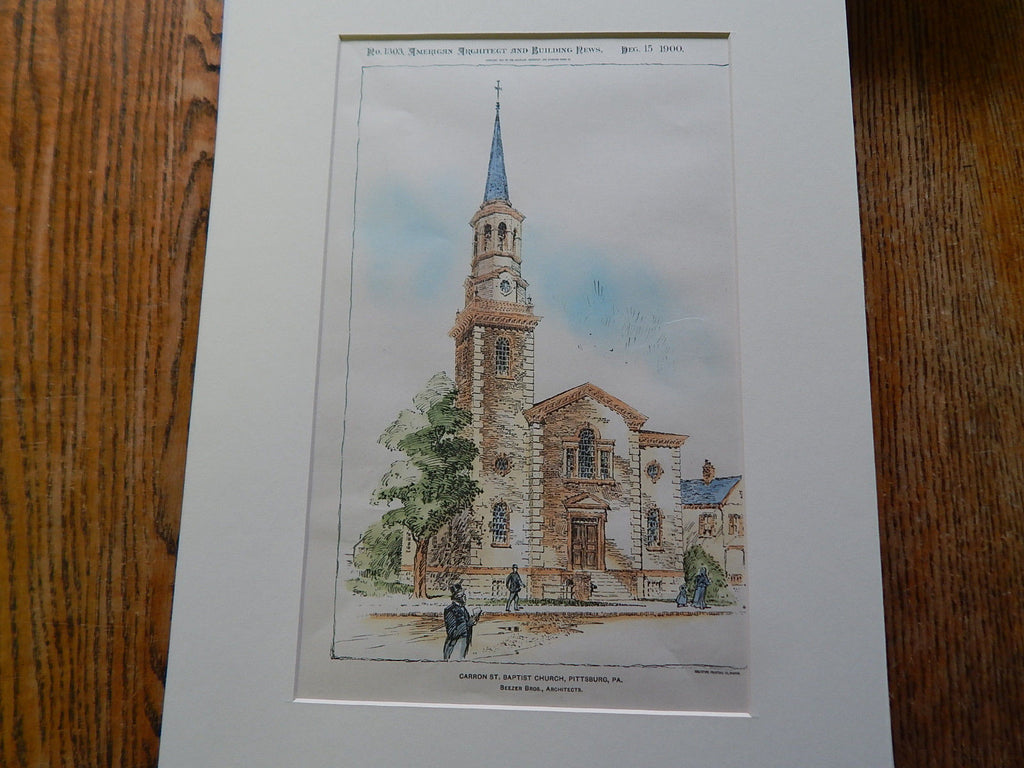 Carron St. Baptist Church, Pittsburgh, PA 1900, Original Plan. Hand-colored. Beezer Brothers.