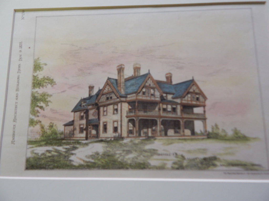House at Milton Hill, MA, 1878. Original Plan. Hand-colored. Wm. Ralph Emerson.