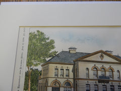 High School, Needham MA 1896. Original Plan. Hand-colored. Charles Brigham.