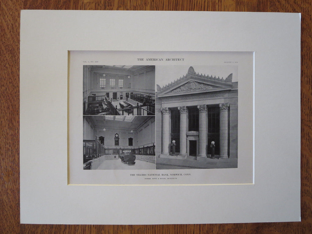 Thames National Bank, Norwich, CT, Rowe & Keyes, 1911, Lithograph