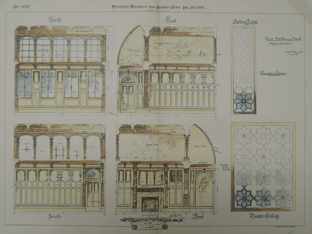 Details, Corn Exchange Bank, New York, NY, 1893, Original Plan. R.H. Robertson.
