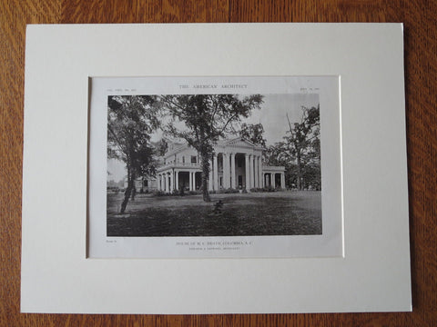 M.C. Heath House, Columbia, SC,  1916, Lithograph. Edwards & Sayward