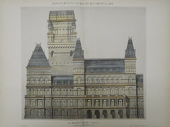Building Art Industries by Clayton & Bell, UK, 1882, Original Plan. Hand-colored.