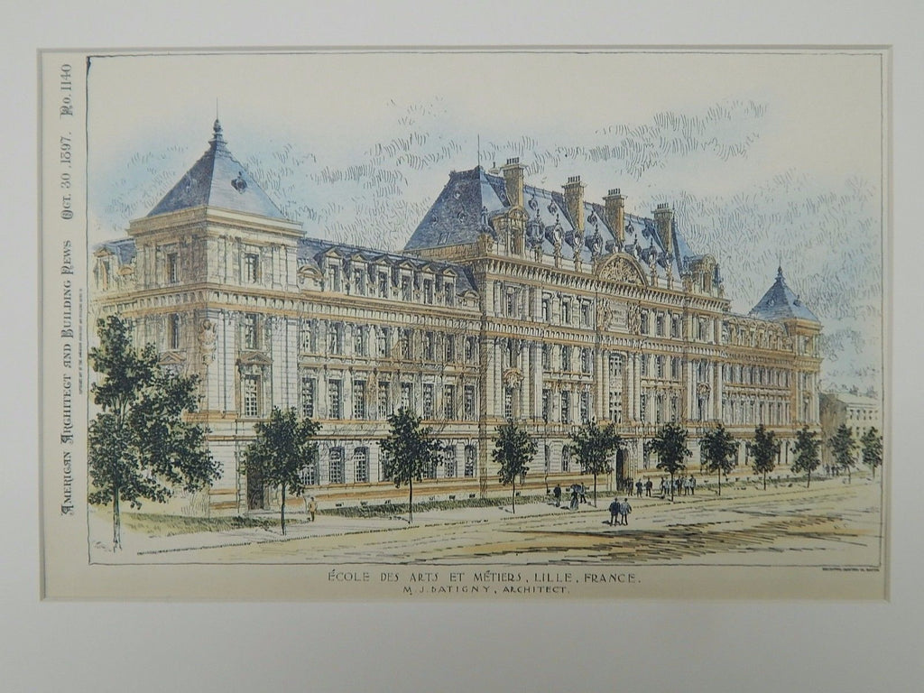 School of Arts and Crafts, Lille, France, 1897, Original Plan. M.J. Batigny.