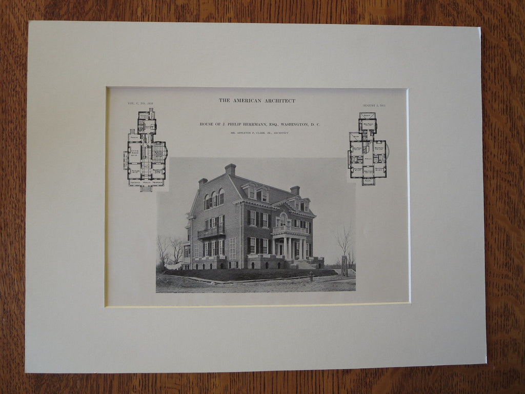 Philip Herrmann House, Washington DC, 1911, Lithograph. Appleton P. Clark, Jr.
