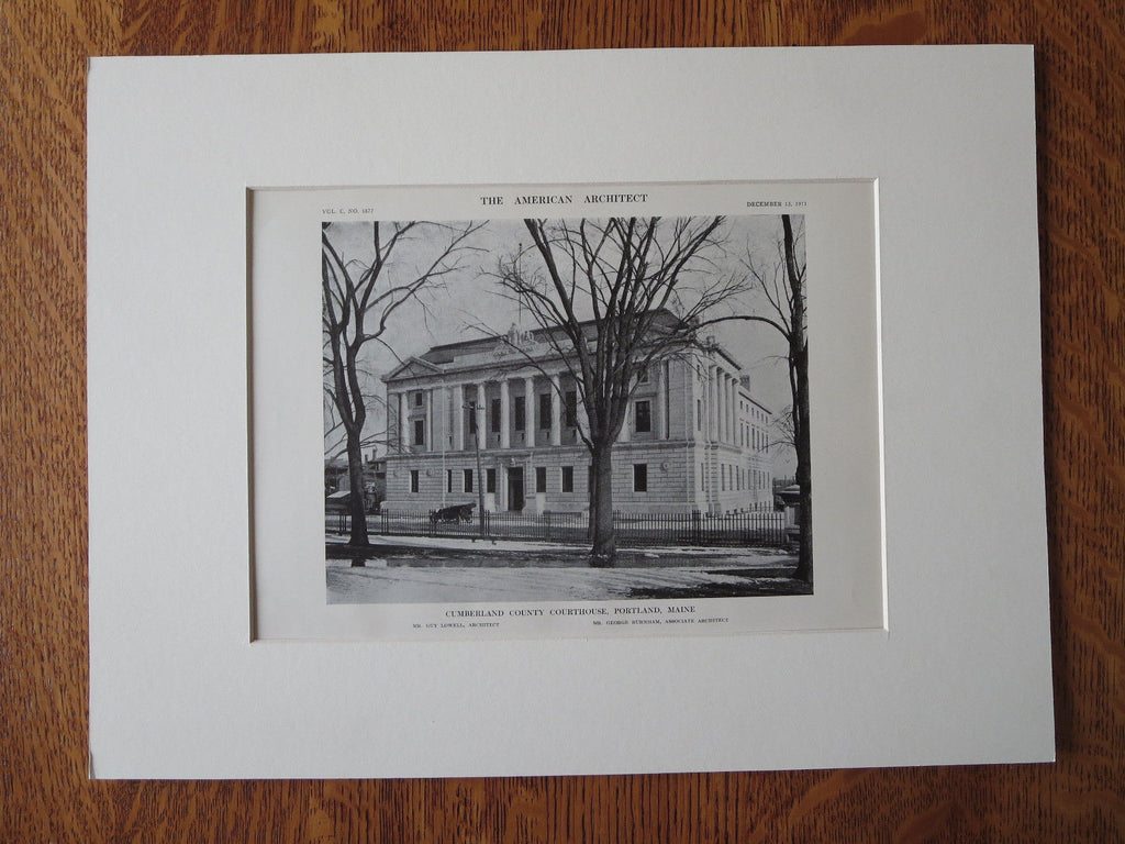 Cumberland County Courthouse, Portland, ME, 1911, Lithograph. Guy Lowell.