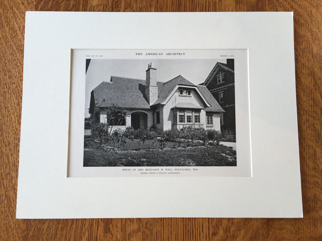 Mrs. Benjamin Weil House, Milwaukee, WI, 1916, Lithograph.  Brust & Philipp