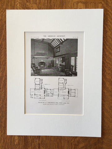 House of A.C. Helmholz, Pine Lake, WI, 1916, Lithograph. Schuchardt & Judell.