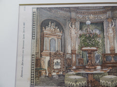 Music Room of the King of Bavaria, 1878. Original Plan. Hand-colored. Ventzke.