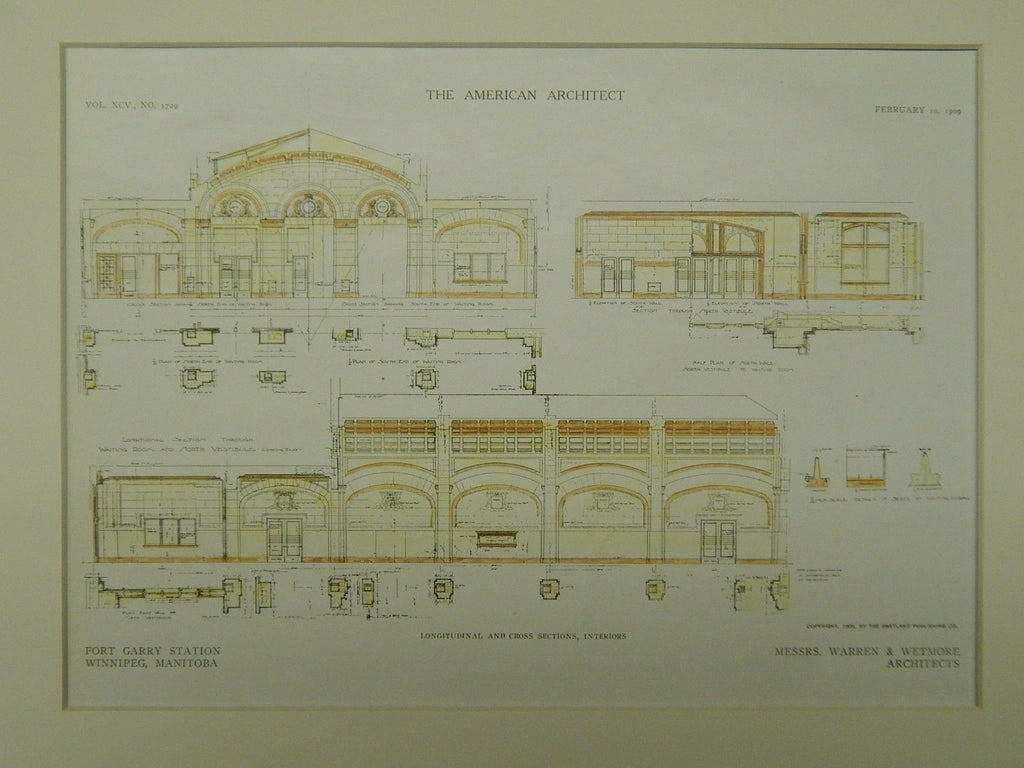 Interior Sections, Fort Garry Station, Winnipeg, Manitoba, Canada, 1909, Original Plan. Warren & Wetmore.