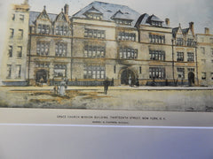 Grace Church Mission Building, New York, NY 1896. Original Plan. Hand-colored. Barney & Chapman.