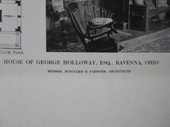 Interior, George Holloway House, Ravenna, OH, 1911, Lithograph. Bohnard & Parsons