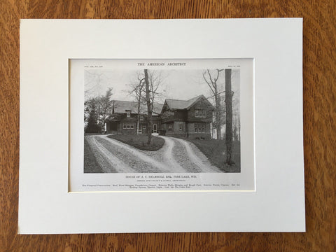 House of A.C. Helmholz, Exterior, Pine Lake, WI, 1916, Lithograph. Schuchardt & Judell.