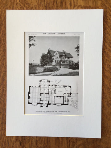 House of D.P. Lamareaux, Esq., Beaver Dam, WI, 1916, Lithograph.  Brust & Philipp