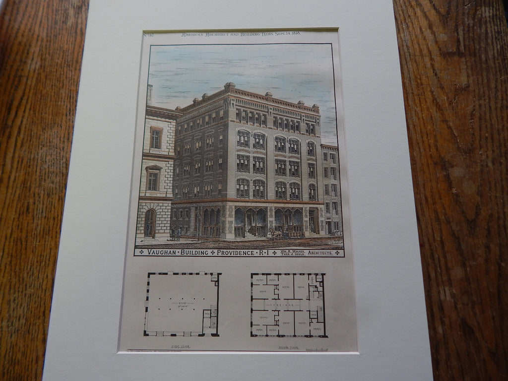 Vaughan Buidling, Providence, RI, 1878. Original Plan. Hand-colored. Walker & Gould.