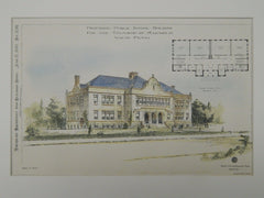 Proposed Public School, Radnor, Wayne, PA, 1897, Original Plan. David Knickerbacker Boyd.