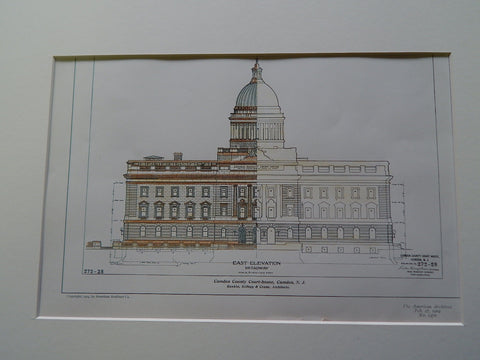 Camden County Court-House, Camden, NJ 1904, Original Plan. Hand-colored. Rankin, Kellogg, Crane.